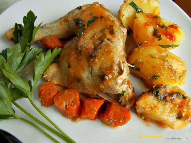 динстани батаци со компири и моркови