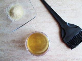 маска за коса од желатин