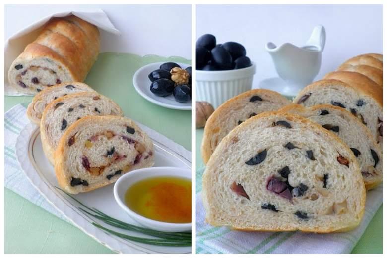 Леб со маслинки, ореви и сушени домати