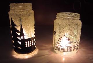новогодишни свеќници од стари тегли