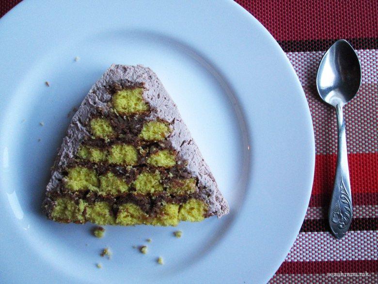 пирамида торта со ореви и бело чоколадо