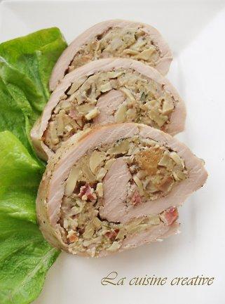 полнето свинско месо со печурки 1