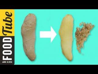 Лупење на ѓумбир за помалку од 1 минута 1