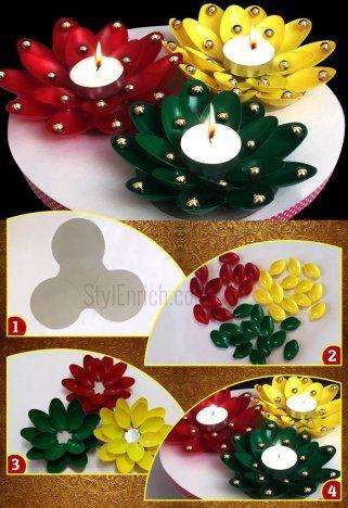 празнични свеќници од пластични лажици 1