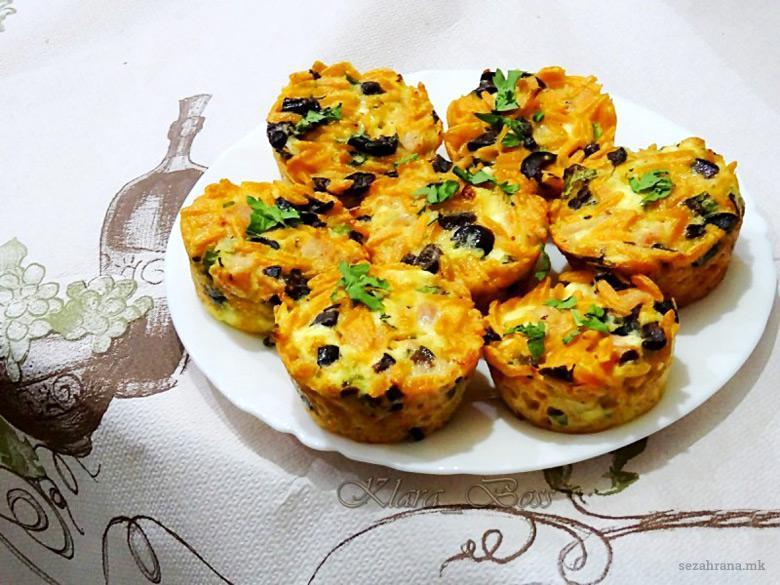 солени мафини со тестенини