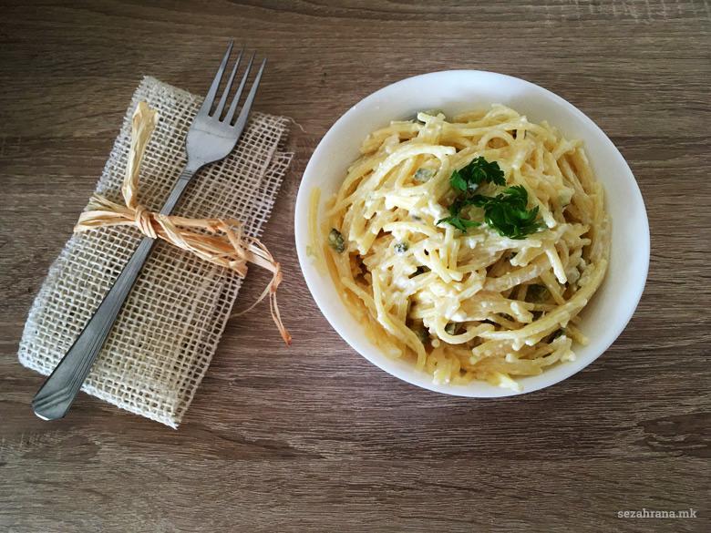 шпагети со павлака