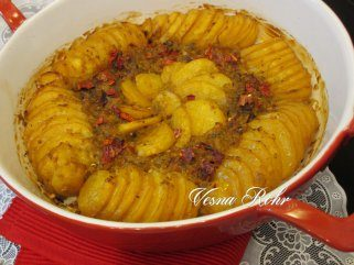 Печена посна тава од компири со фил од праз 1