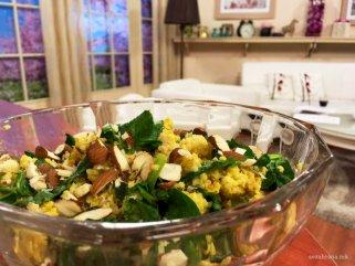 Здрава салата со просо, спанаќ и бадеми (оброк) 1