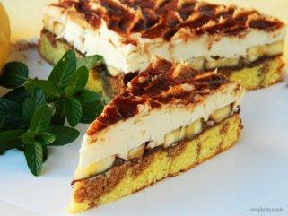 кремаста торта со банани и чоколаден крем