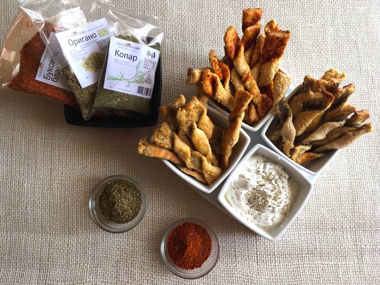 Солени стапчиња со оригано, буковец и копар