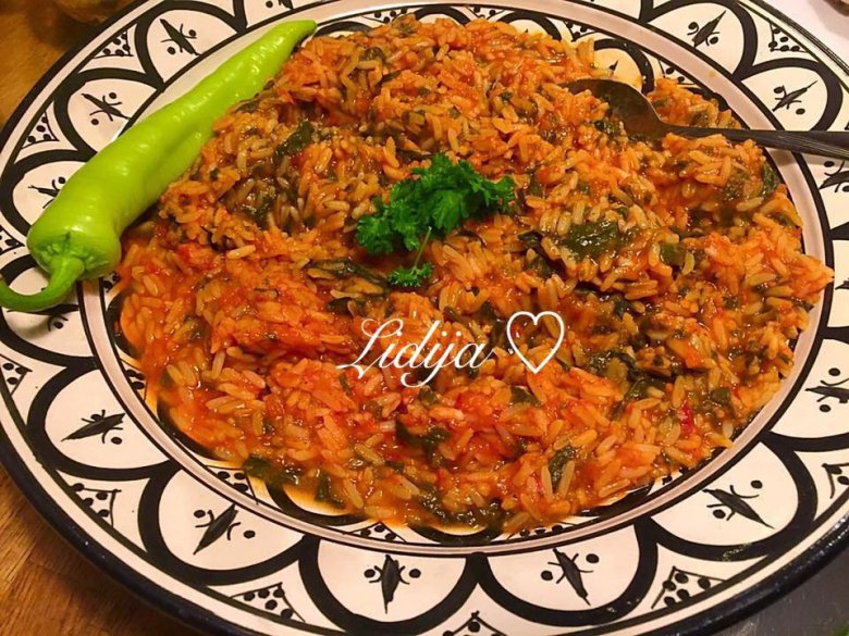 Рецепт за вегетаријански ориз со спанаќ - посно 2