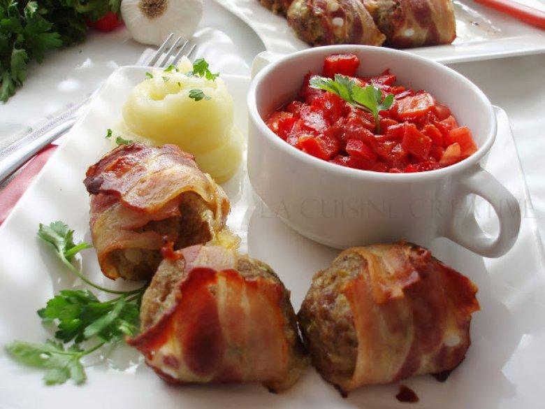 Замотани полпети од мелено месо во сланина 2