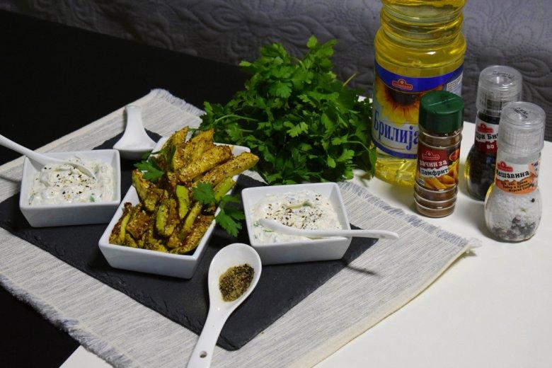 Печен помфрит од компири и тиквички 2