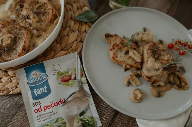 свинско во кремаст сос од печурки